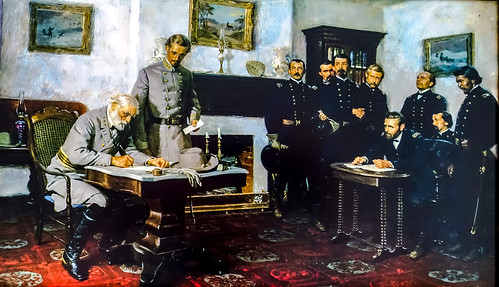 Robert E. Lee signs the surrender document written by Ulysses S. Grant in the McLean House, Appomattox Court House, Virginia, April 9, 1865 | by lhboudreau