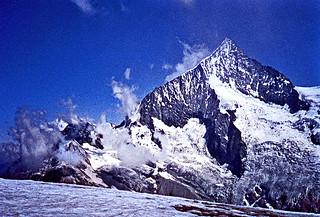 Vintage Kodachrome. July 1982. Zermatt (Swiss). The Mount Weisshorn viewed from Rothorn.