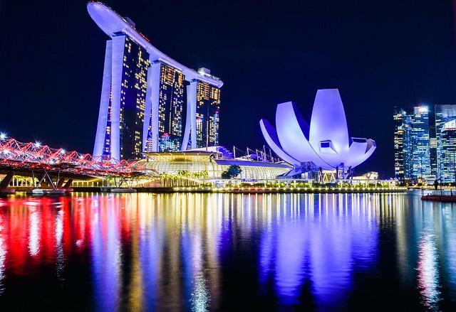 Singapore Marina bay night skyline