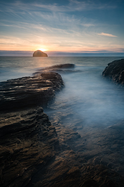 Sunset at Trebarwith Strand and Gull Rock