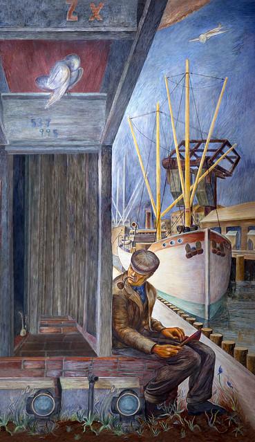 Docks near third street bridge, Coit Tower murals