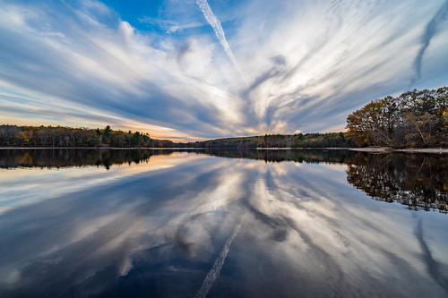 clouds fall lake landscape reflection sky statepark sunset trees tripod hopkinton ma unitedstates