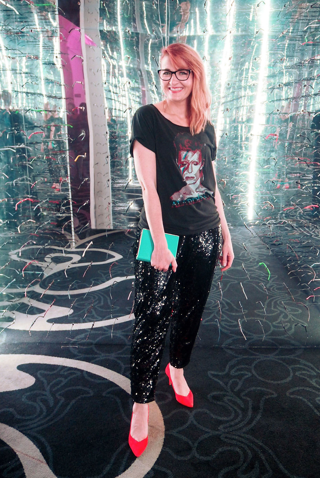 Specsavers SWOTY 2017: Evening/cocktail date night outfit - David Bowie rock t-shirt tee \ black sequin trousers \ bright orange pointed heels | Not Dressed As Lamb, over 40 style