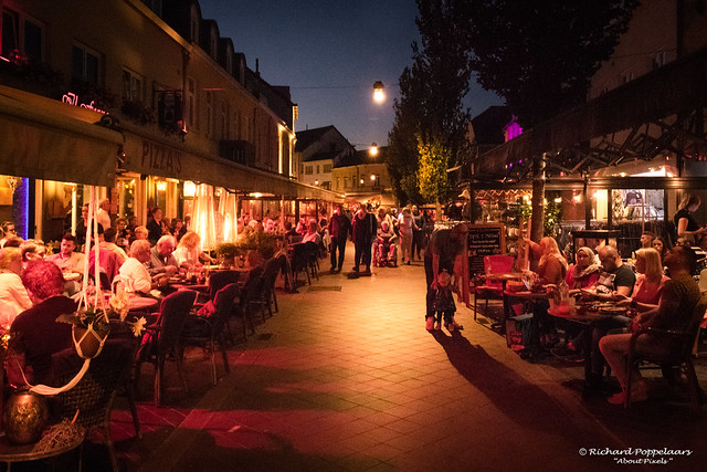 The very many terraces in the city center (Valkenburg/NL)