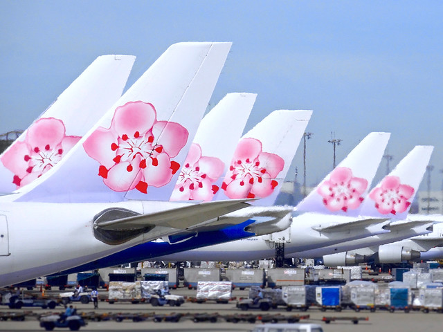 TPE Rush Hour - China Airlines Tails