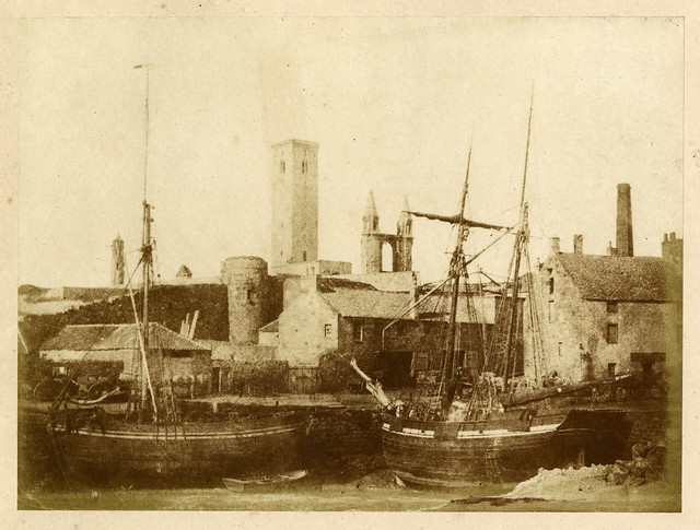 Hill & Adamson - St Andrews Harbor, with the Cathedral Precinct Wall, St Rule's Tower and the Cathedral from the Southeast, 1843-47