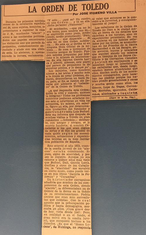 Artículo sobre la Orden de Toledo escrito por José Moreno Villa el 12 de octubre de 1947 en el diario El Nacional de México. (página 1)
