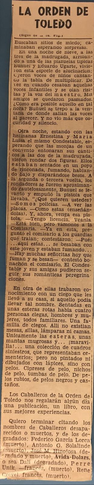 Artículo sobre la Orden de Toledo escrito por José Moreno Villa el 12 de octubre de 1947 en el diario El Nacional de México. (página 2)
