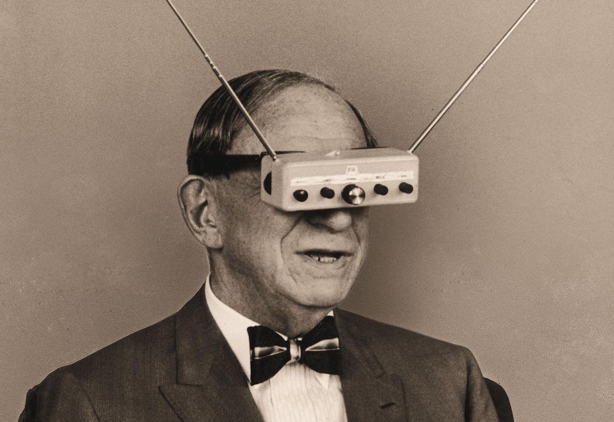 Hugo Gernsback wearing his teleyeglasses.