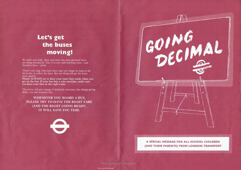 London Transport Going Decimal leaflet, 1971
