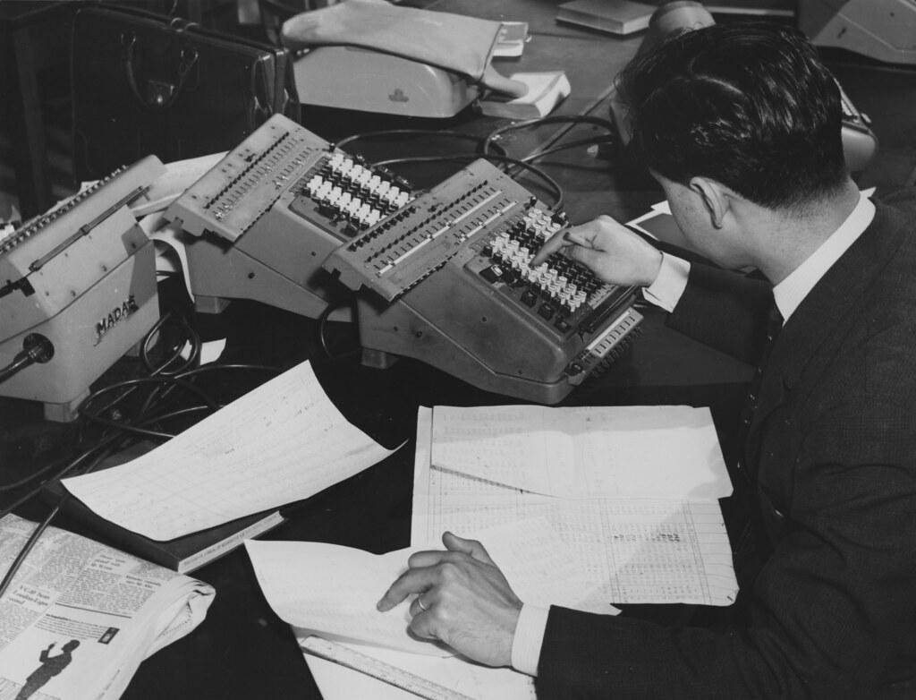 Student working in Statistics Machine Room, 1964