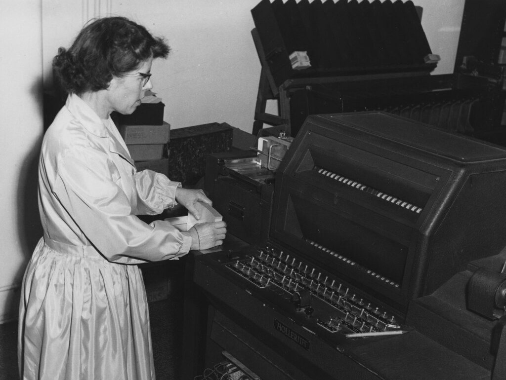 Miss Cowell with Hollerith Machine, 1964