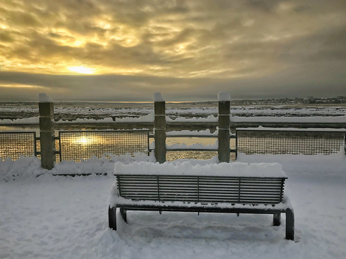 canada fence moncton newbrunswick shawnharquail travel bench cloud clouds dawn fencefriday outdoor petitcodiacriver shawnharquailcom snow sunrise winter