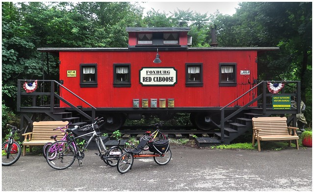 Foxburg Red caboose along the NCT & Allegheny River Valley Trail