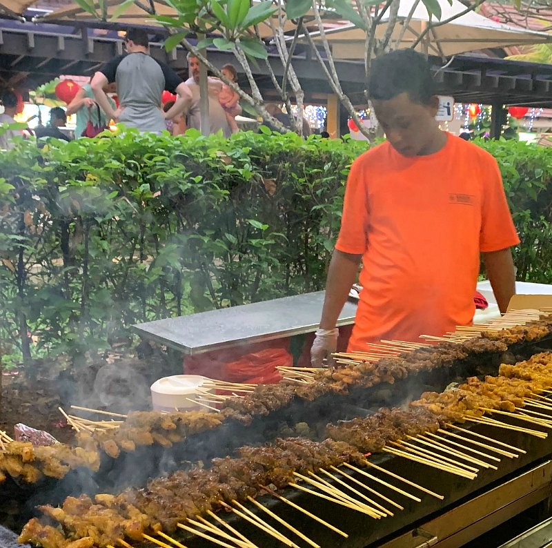 Satay Grilling at the East Coast Lagoon Hawker Center, Singapore
