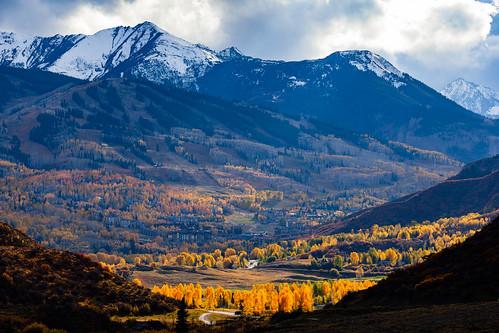 autumn trees fallcolor co clouds sunset rockymountains aspens mountains colorado snowmass snowmassvillage aspen fall orange rockies unitedstates us