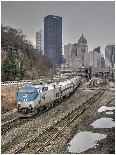 Eastbound Amtrak Pennsylvanian 42 leaving Pittsburgh