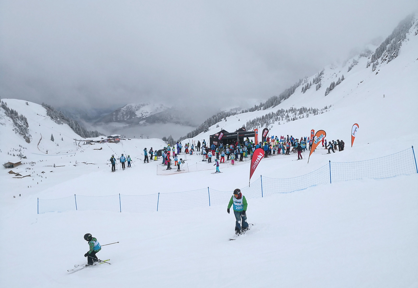 Queue for the ski race
