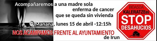 Cartel concentración frente el Ayuntamiento de Irun. 15-04-2019