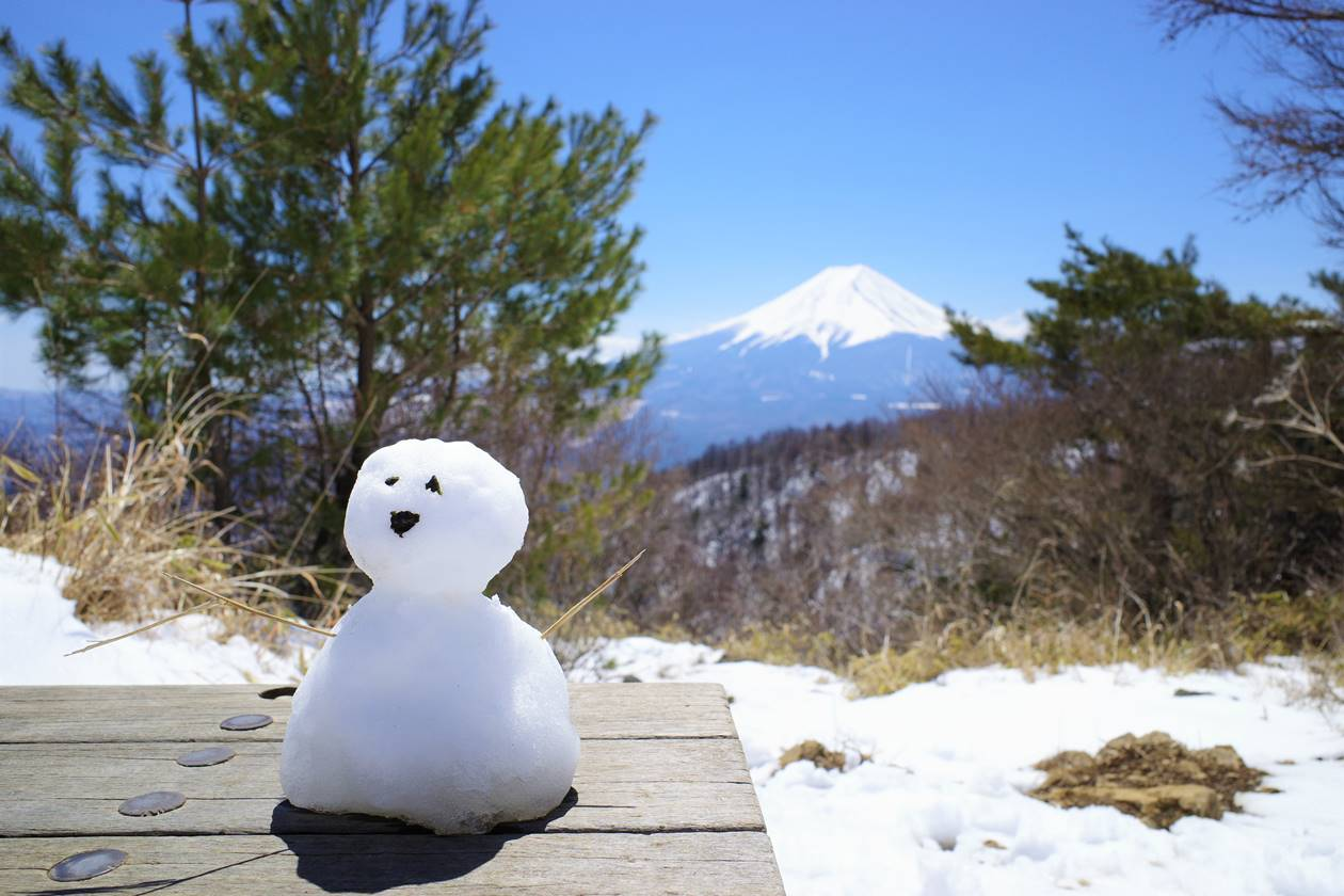 雪ダルマと富士山