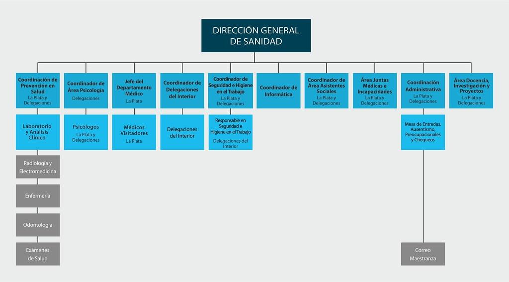 La Dirección General de Sanidad está compuesta por Coordinaciones, áreas y el Departamento Médico de La Plata. Las Coordinaciones son: de Prevención en Salud dependiendo de ella Laboratorio y Análisis Clínico, como también Radiología y electromedicina, Enfermería, Odontología y Exámenes de Salud; tanto en La Plata como en las delegaciones. Coordinador de Área Psicología dependiendo los Psicólogos de La Plata y las Delegaciones. Coordinador de Delegaciones del Interior. Coordinador de Seguridad e Higiene en el Trabaja, tanto en La Plata como en las Delegaciones. Coordinador de Informática. Coordinador de Área Asistentes Sociales, tanto en La Plata y en las Delegaciones. Y Coordinación Administrativa tanto en La Plata como en las Delegaciones, se encarga de la Mesa de Entradas, ausentismo, preocupacionales, chequeos y correo.Las Áreas son de juntas Médicas e Incapacidades y Docencia, Investigación y Proyectos, tanto en La Plata como en las Delegaciones.Del departamento Médico dependen los Médicos Visitadores de La Plata