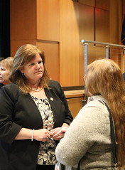 Rep. Haines speaks with constituents at an informational forum on proposals to install tolls on Connecticut highways