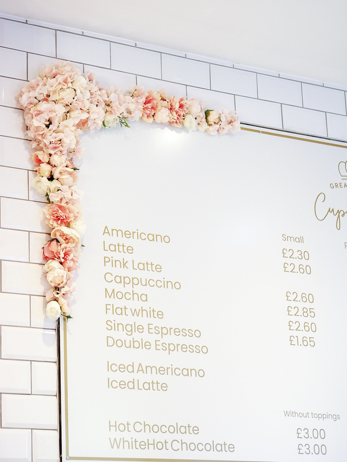 menu great British cupcakery