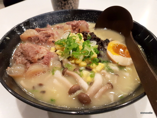 Japanese ramen in ginger soup with tenderous rib and mushroom