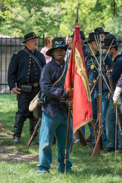 CWD Setting a flag for a Michigan regiment