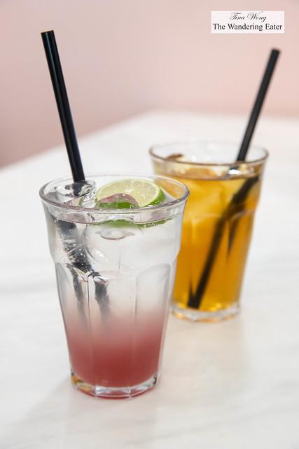 Rose, lime soda and iced hojicha tea
