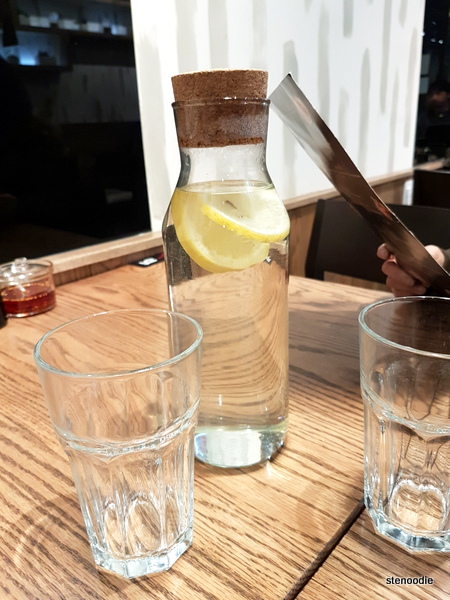 Pitcher of lemon-infused water