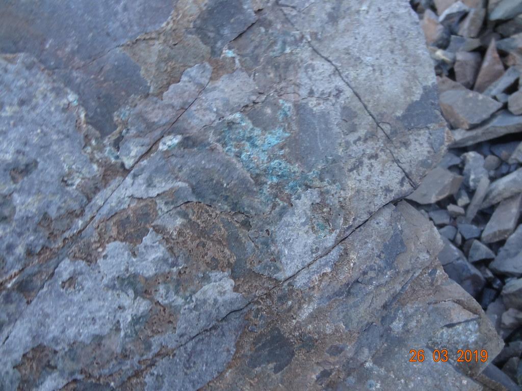 Proyecto Azules 2019 - Afloramiento de cobre con malaquita