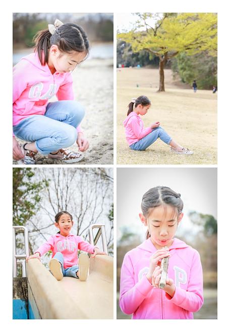 公園で遊ぶ女の子 ピンクの服