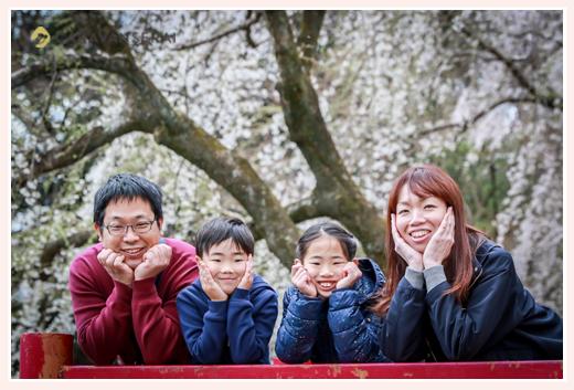 満開の桜をバックに家族写真