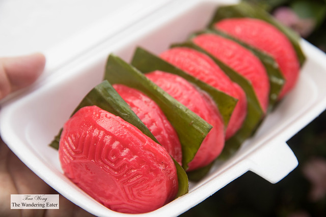 Ang Ku Kueh 紅龜粿  or red tortoise cakes filled with roasted peanut and red bean