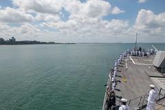 Sailors man the rails as USS Stockdale (DDG 106) arrives in Darwin, April 17. (U.S. Navy/MC2 Abigayle Lutz)