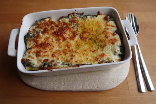 Spinat-Nudel-Auflauf mit dreierlei Käse