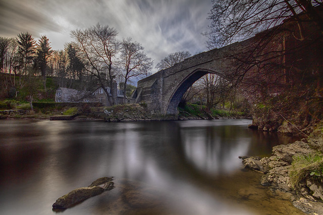 fine art, long exposure, sumptuous colour view of the ancient and charming Brig o'Balgownie over the River Don, Old Aberdeen, Aberdeen, Scotland