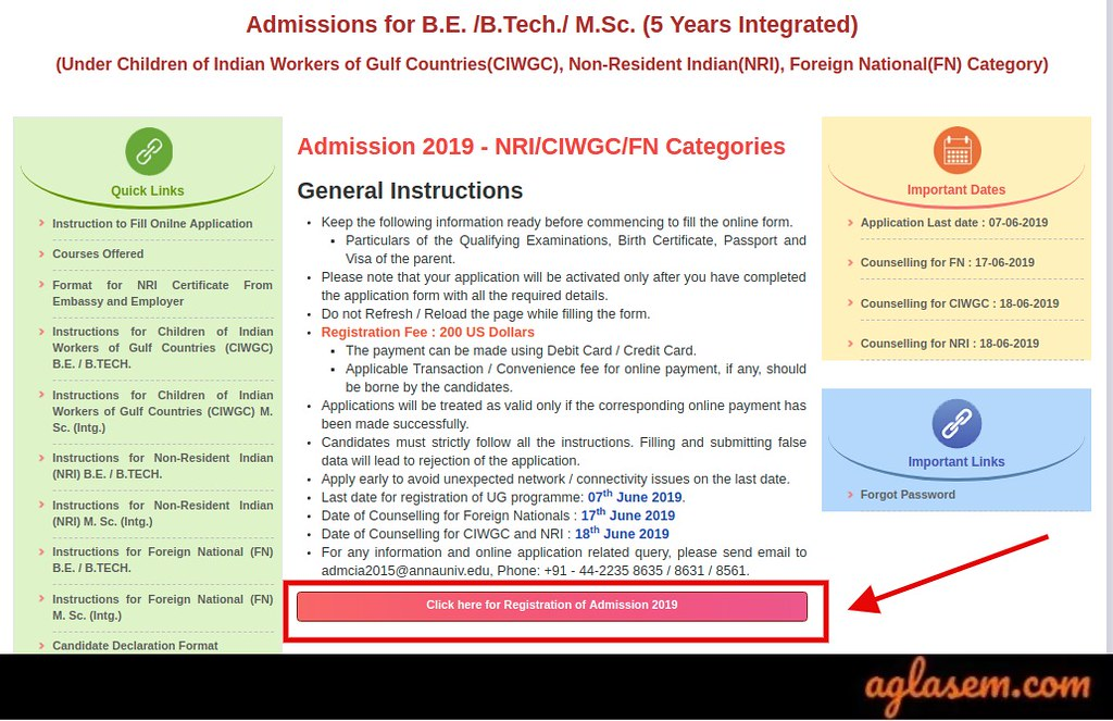 Anna University NRI/CIWGC/FN Category Admission 2019
