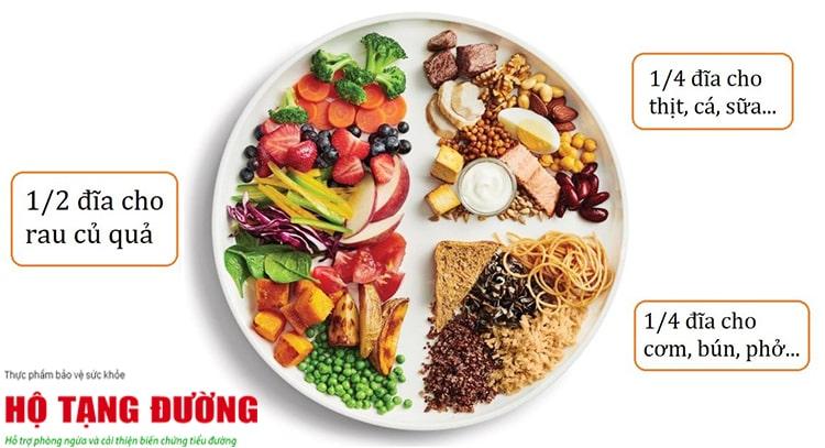 """Áp dụng nguyên tắc """"đĩa ăn"""" để kiểm soát tốt đường huyết."""