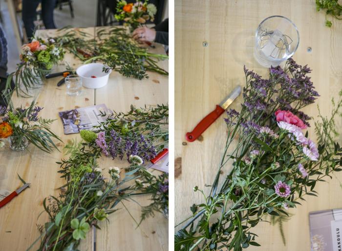 Järvenpään Kukkatalo kukkakoulu itsetehty kukkaseppele kukkakranssi kukka-asetelma lasiin leikkokukka tee itse diy kukkasidonta