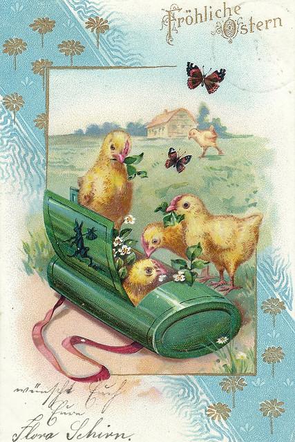 """""""Joyeuses Pâques"""", """"Fröhliche Ostern"""" - Post- und Ansichtskarten aus meiner Sammlung alter Karten (circa 1900 bis 1920) - hier: Botanisiertrommel"""