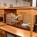 Beech long desk with drawer E70
