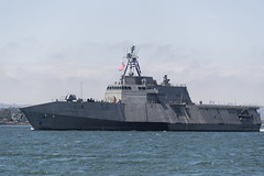 SAN DIEGO (April 19, 2019) The Independence-variant littoral combat ship USS Charleston (LCS 18) sails through San Diego Bay in transit to the ship's Naval Base San Diego homeport, successfully completing the ship's maiden voyage from the Austal USA shipyard in Mobile, Alabama. Charleston is the ninth ship in the littoral combat ship Independence-variant class and is the eleventh LCS to be homeported in San Diego. (U.S. Navy photo by Mass Communication Specialist 1st Class Woody S. Paschall)