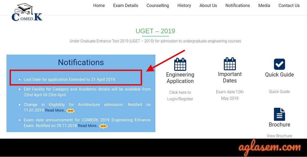 COMEDK 2019 Application Form Last Date