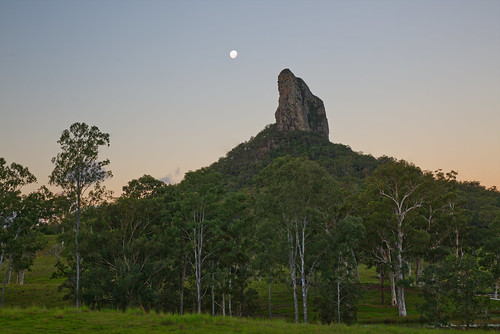 australia queensland sunshinecoast glasshousemountains landscape mountain tree moon sky