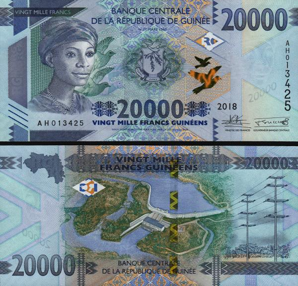 20 000 Frankov Guinea 2018 (2019), P50b