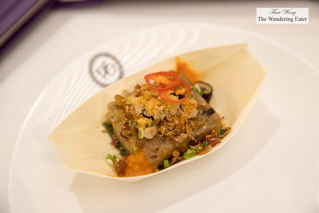 Taro cake 芋頭糕 made with dried shrimp, Chinese sausage, dried mushroom, minced pork, fried shallots