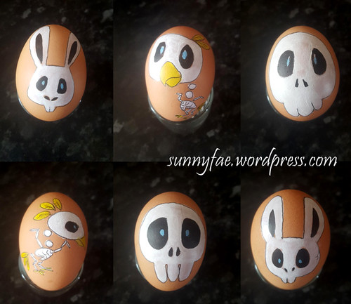 Easter eggs painted with little skulls