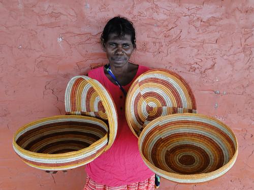 Featured Artist Helen Ganalmirriwuy of Milingimbi Art and Culture. Image courtesy of Milingimbi Art and Culture.